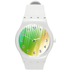 Folded Digitally Painted Abstract Paint Background Texture Round Plastic Sport Watch (m) by Simbadda
