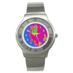 Digital Fractal Spiral Stainless Steel Watch by Simbadda