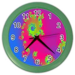 Digital Fractal Spiral Color Wall Clocks by Simbadda