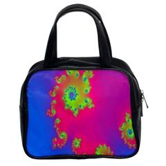 Digital Fractal Spiral Classic Handbags (2 Sides) by Simbadda