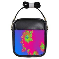 Digital Fractal Spiral Girls Sling Bags by Simbadda