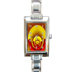 Red Gold Fractal Hypocycloid Rectangle Italian Charm Watch by Simbadda