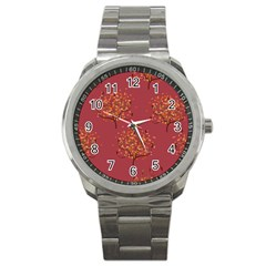 Beautiful Tree Background Pattern Sport Metal Watch by Simbadda