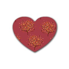 Beautiful Tree Background Pattern Rubber Coaster (heart)  by Simbadda