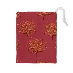 Beautiful Tree Background Pattern Drawstring Pouches (large)  by Simbadda