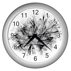 High Detailed Resembling A Flower Fractalblack Flower Wall Clocks (silver)  by Simbadda