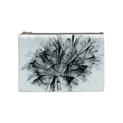 High Detailed Resembling A Flower Fractalblack Flower Cosmetic Bag (medium)  by Simbadda