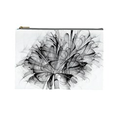 High Detailed Resembling A Flower Fractalblack Flower Cosmetic Bag (large)  by Simbadda