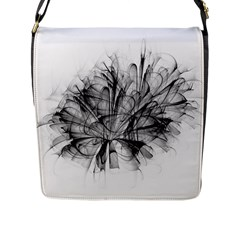 High Detailed Resembling A Flower Fractalblack Flower Flap Messenger Bag (l)  by Simbadda