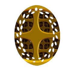 Golden Fractal Window Oval Filigree Ornament (two Sides) by Simbadda