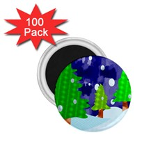 Christmas Trees And Snowy Landscape 1 75  Magnets (100 Pack)  by Simbadda