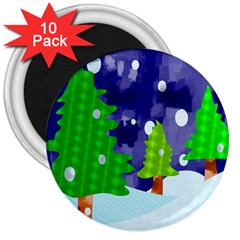 Christmas Trees And Snowy Landscape 3  Magnets (10 Pack)  by Simbadda