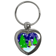 Christmas Trees And Snowy Landscape Key Chains (heart)  by Simbadda