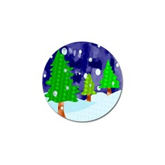Christmas Trees And Snowy Landscape Golf Ball Marker by Simbadda