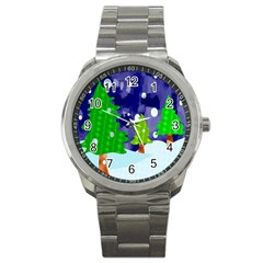 Christmas Trees And Snowy Landscape Sport Metal Watch by Simbadda