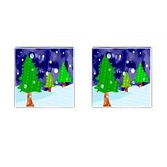 Christmas Trees And Snowy Landscape Cufflinks (square) by Simbadda