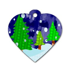 Christmas Trees And Snowy Landscape Dog Tag Heart (one Side) by Simbadda
