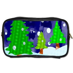 Christmas Trees And Snowy Landscape Toiletries Bags by Simbadda