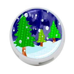 Christmas Trees And Snowy Landscape 4 Port Usb Hub (one Side) by Simbadda