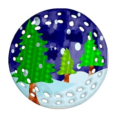 Christmas Trees And Snowy Landscape Round Filigree Ornament (two Sides) by Simbadda