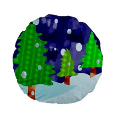 Christmas Trees And Snowy Landscape Standard 15  Premium Round Cushions by Simbadda