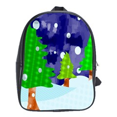 Christmas Trees And Snowy Landscape School Bags (xl)  by Simbadda