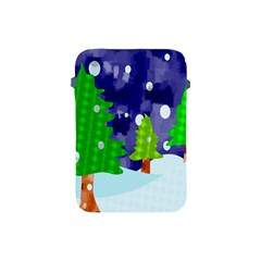 Christmas Trees And Snowy Landscape Apple Ipad Mini Protective Soft Cases by Simbadda