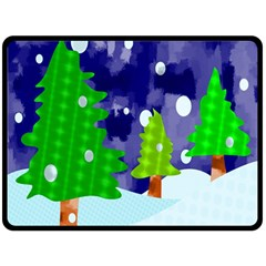 Christmas Trees And Snowy Landscape Double Sided Fleece Blanket (large)  by Simbadda