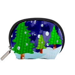 Christmas Trees And Snowy Landscape Accessory Pouches (small)  by Simbadda