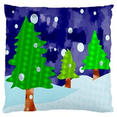 Christmas Trees And Snowy Landscape Large Flano Cushion Case (one Side) by Simbadda