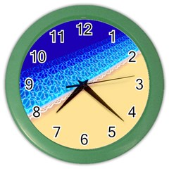 Beach Sea Water Waves Sand Color Wall Clocks by Alisyart