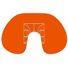 Basketball Court Orange Sport Orange Line Travel Neck Pillows by Alisyart
