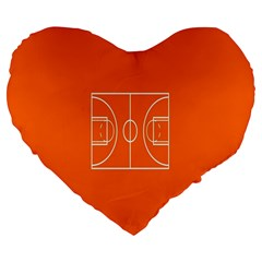 Basketball Court Orange Sport Orange Line Large 19  Premium Flano Heart Shape Cushions by Alisyart