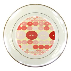 Buttons Pink Red Circle Scrapboo Porcelain Plates by Alisyart