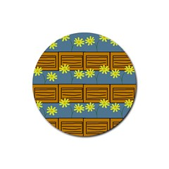 Yellow Flower Floral Sunflower Rubber Round Coaster (4 Pack)  by Alisyart