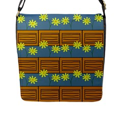 Yellow Flower Floral Sunflower Flap Messenger Bag (l)  by Alisyart