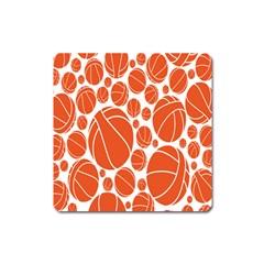 Basketball Ball Orange Sport Square Magnet by Alisyart
