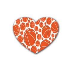 Basketball Ball Orange Sport Heart Coaster (4 Pack)  by Alisyart