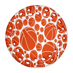 Basketball Ball Orange Sport Round Filigree Ornament (two Sides) by Alisyart