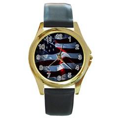 Grunge American Flag Background Round Gold Metal Watch by Simbadda