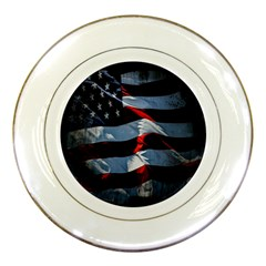 Grunge American Flag Background Porcelain Plates by Simbadda