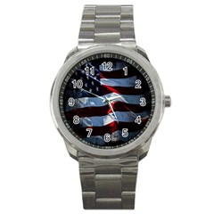 Grunge American Flag Background Sport Metal Watch by Simbadda