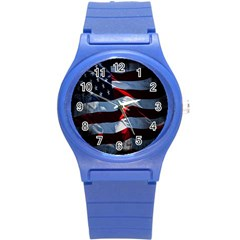 Grunge American Flag Background Round Plastic Sport Watch (s) by Simbadda