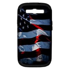 Grunge American Flag Background Samsung Galaxy S Iii Hardshell Case (pc+silicone) by Simbadda