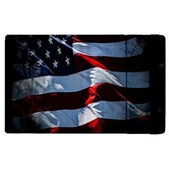 Grunge American Flag Background Apple Ipad 3/4 Flip Case by Simbadda