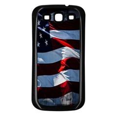 Grunge American Flag Background Samsung Galaxy S3 Back Case (black) by Simbadda