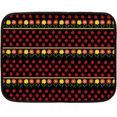 Ladybugs And Flowers Fleece Blanket (mini) by Valentinaart