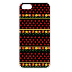 Ladybugs And Flowers Apple Iphone 5 Seamless Case (white) by Valentinaart