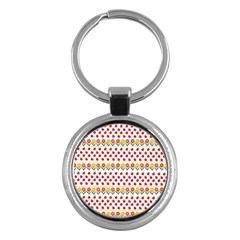 Ladybugs And Flowers Key Chains (round)  by Valentinaart