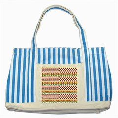 Ladybugs And Flowers Striped Blue Tote Bag by Valentinaart